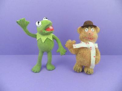 1970s HCF Flocked Character Figures - Kermit The Frog & Fozzie Bear -The Muppets
