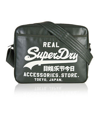 New Mens Superdry Flock Alumni Bag Moss Green Winter Wh
