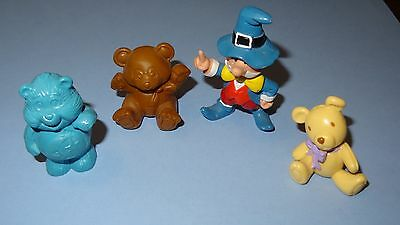 Lot of 4 Miniature Rare Vintage Figures Munchen Pilgrim & Bears / Smurf Size Toy