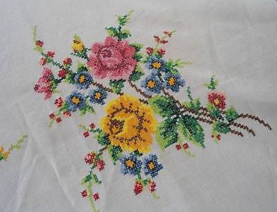 """Vintage Banquet Tablecloth Set Embroidered Roses Blue Yellow Cross Stitch 98"""""""
