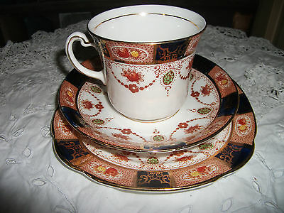 Vintage Colclough Bone China Tea Trios - Colourful Imari Style Colour Palette