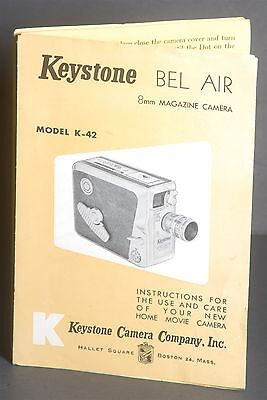 Instructions For The Use Of Keystone 8mm Magazine Camera K-42 Bel Air