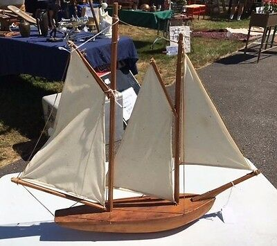 Antique Folk Art Hand Made Wood Nautical Sailing Ship Boat