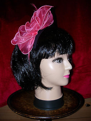 BNWT - M&S Ladies Feather Bow Fascinator / Hat - wedding races party - Pink