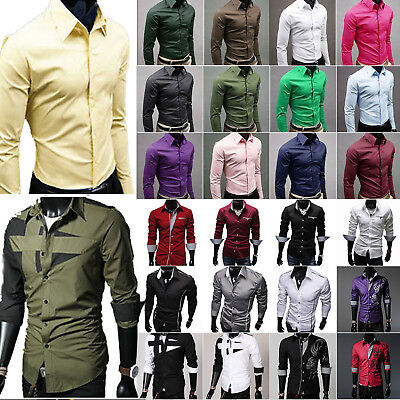 Men Stylish Casual POLO Dress Shirt Long Sleeve Formal Business Slim Fit Top Tee
