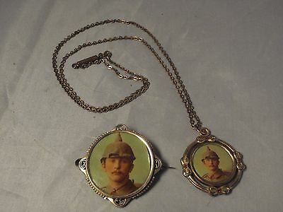WW1 Sweetheart necklace brooch German Germany military Pickelhaube Prussia Army
