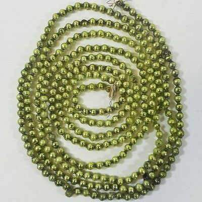 """Vtg Mercury Glass Christmas Garland Ornaments / Green Beads 105"""" - Feather Tree"""
