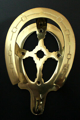 Horse Shoe Solid Brass Home Bath Hat Coat Clothes Wall Bridle Hanger Hook 6741