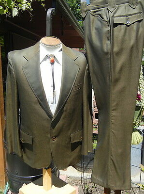 Flashy Green 1960s Sharkskin Western Suit 40 31x30 - Alterable Cowboy by NIVER