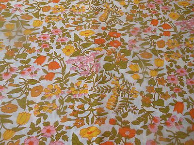 Vintage Cottage Floral Cotton ~ Orange Olive yellow Pink ~ Blouse Quilt ~