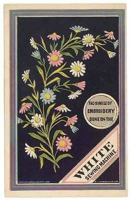 Early WHITE SEWING MACHINE Trade Card With a Facsimile of Embroidery