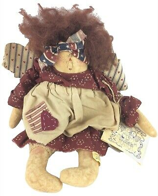 Attic Babies Stressie Bessie Doll Country Primitive Maschino Signed 1991 Button