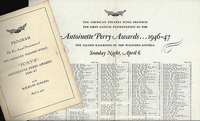 1st Annual TONY AWARDS New York's Waldorf Astoria 1947 Playbill / Seating Chart