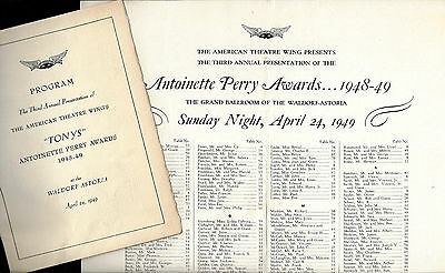 3rd Annual TONY AWARDS New York's Waldorf Astoria 1949 Playbill / Seating Chart