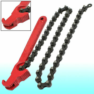 "Universal Red Handle 16.5"" Chain Oil Filter Wrench Tool"
