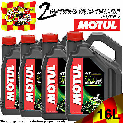 1L 2L 3L 4L 8L 12L 16L Motul 5100 10W50 Ma2 Semi Synthetic Motor Cycle Bike Oil