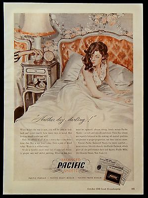 Vintage 1944 Pacific Balance Sheets Magazine Ad Percale Muslin