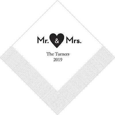 100 Mr and Mrs Heart Personalized Printed Wedding Cocktail Napkins