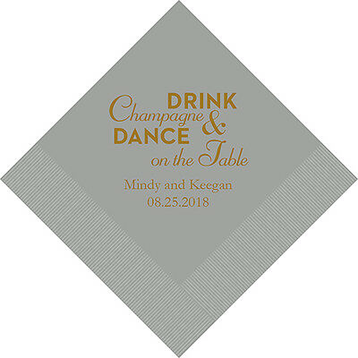 100 Champagne and Dance Personalized Printed Wedding Cocktail Napkins