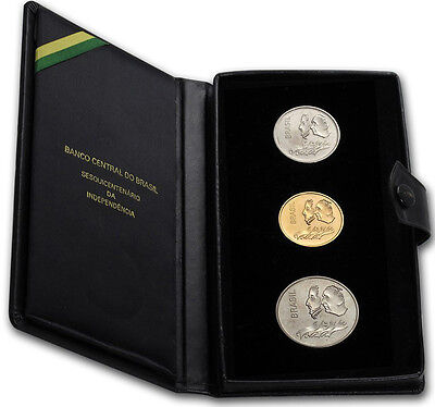 Brazil. Nice 3-Coin Set 150th Anniversary of Independence 1972. Scarce, BU.