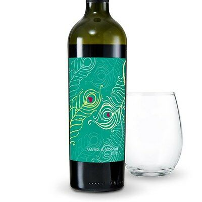 24 Perfect Peacock Personalized Wedding Wine Bottle Labels