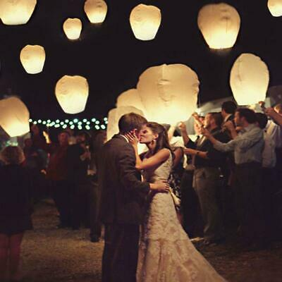 50PCS White Paper KongMing Lanterns Sky Fly Candle Lamp for Wish Party Wedding