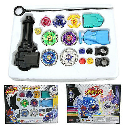 Metal Master Fusion Top Rapidity Fight Rare Beyblade 4D Launcher Grip Set