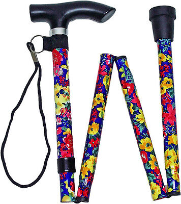 Floral Folding Walking Stick with Carry Strap (Design May Vary)