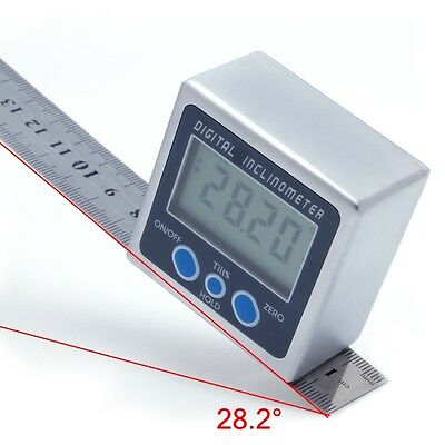 Digital Angle Gauge Meter Mini Protractor 360° w/ Magnets Base Inclinometer