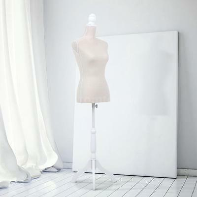 Beige Color Female Mannequin Torso Dress Form W/Tripod Stand LINEN Pinnable K8B1