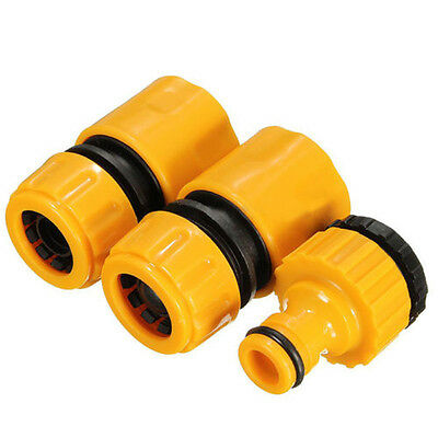 """3pcs 1/2"""" 3/4"""""""" Hose Pipe Fitting Set Quick Garden Water Connector Adaptor New"""