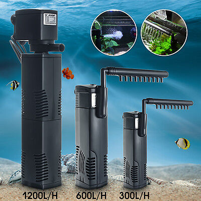 1200L/H Internal Aquarium Filter Submersible Fish Tank Pump Spray Bar Filtration
