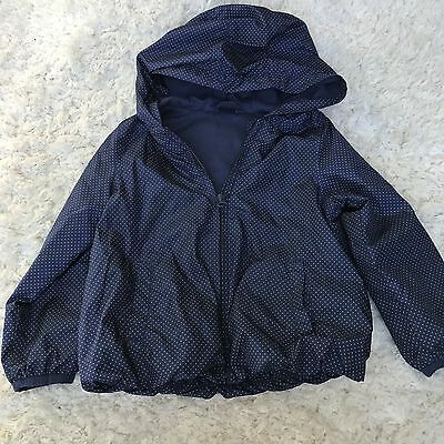 Baby Gap Mini Polkadots Blue Lined Hooded Puffy Jacket Size 4 4T Toddler ~ EUC!