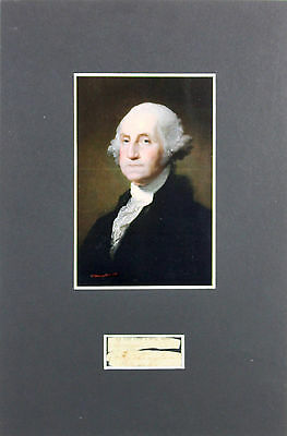 George Washington Authentic Signed & Matted .75x2 Cut Signature BAS #A81107