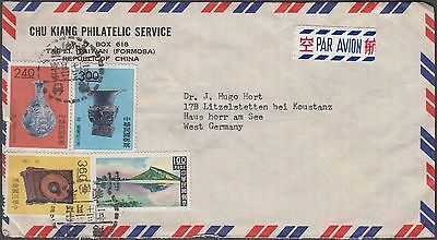 Taiwan China Lovely 4 Values On Airmail Labelled Cover To Germany