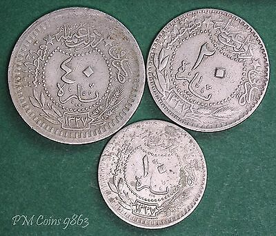 Turkey coin collection 1909 (AH 1327) 10, 20 & 40 para coins *[9863]
