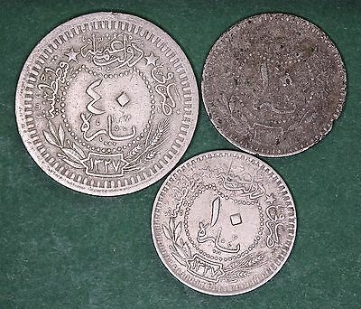 Turkey coin collection 1909 (AH 1327) 10, 20 & 40 para coins *[9869]
