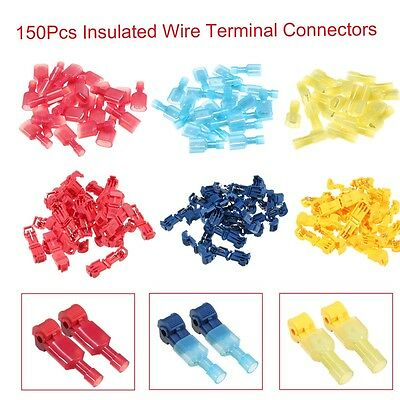 150pcs T-Tap/Male Female Insulated Wire Quick Splice Terminal Connectors Set Kit