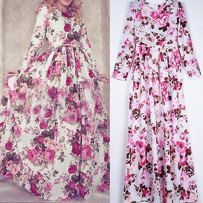 Women's Long Sleeve Boho Long Maxi Evening Party Dress Vintage Floral Sundress*
