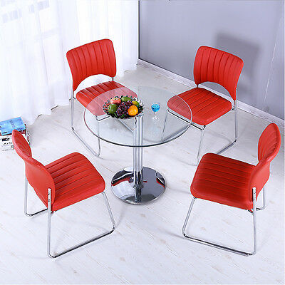 Bar/Cafe Style Dining Table High Gloss Solid Chrome Legs & Clear Round Glass Top