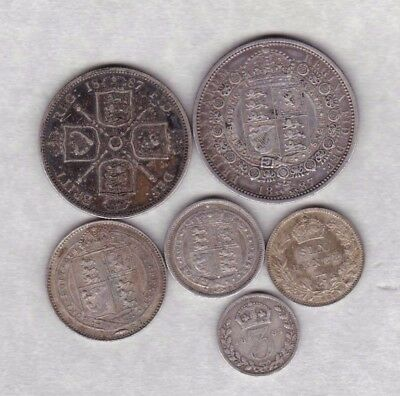 Four 1887 Victorian Silver Jubilee Head Florins In Good Fine Or Better Condition