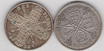1923 & 1933 George V Florins In Near Very Fine Condition