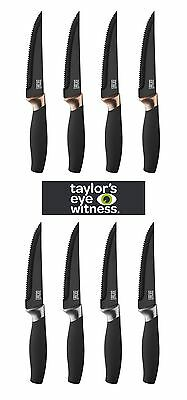 Taylors Eye Witness Brooklyn 4 Piece Steak Knife Set in Black & Chrome or Copper