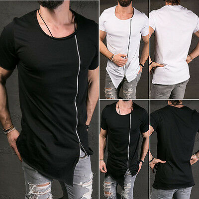 Men's Fashion Casual Short Sleeve Round Neck Solid Cotton Slim Fit Tops T Shirt