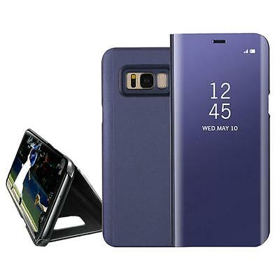 Durable Samsung Galaxy S8 S8+ Clear View Mirror Leather Flip Stand Case Cover