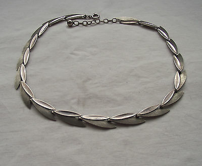 Beautiful Silver Leaf Necklace Modernist Belgian Silver Signed with Skull