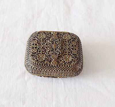 Beautifully Decorated Vintage Small Metal Snuff or Trinket Box French?