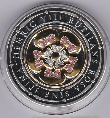 Boxed 5 Ounce 2009 Henry Viii Diamond Ruby Silver Proof Medal