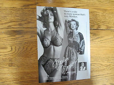 Marilyn Monroe Leopard Lingerie Print Ad Clipping 1997
