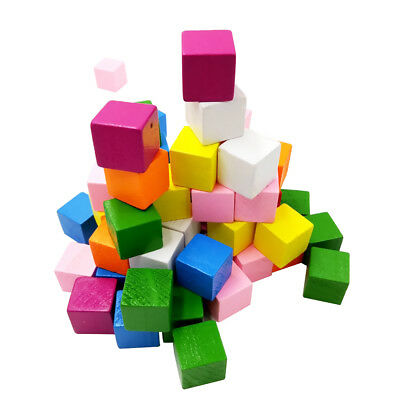 50x Color Wooden Blocks Cube Shape For Scrapbooking Decor Kids Crafts 15mm